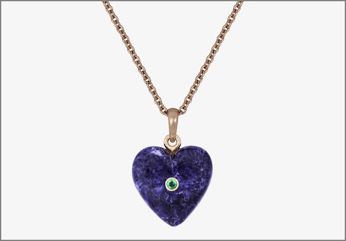 Nana Fink, Blue Heart, Rosegold Sodalite Emerald