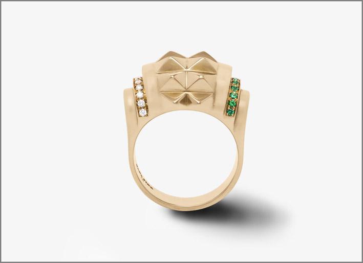 Sophistiquee Ring, Rosegold, Diamonds, Emeralds