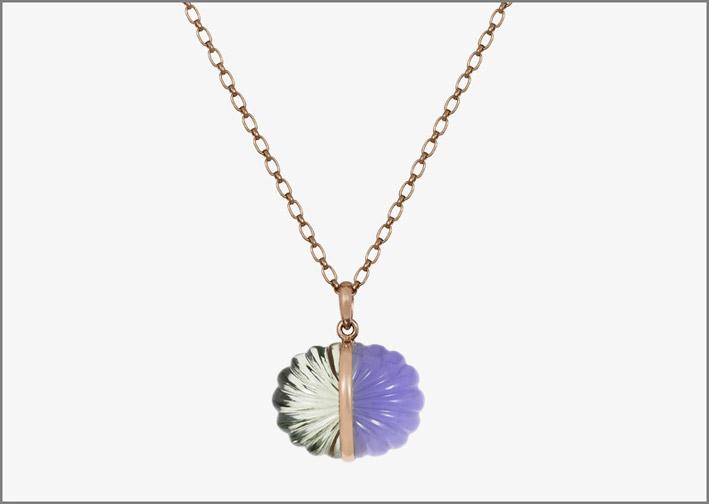 Necklace, Rosegold, Prasiolite, Chalcedony