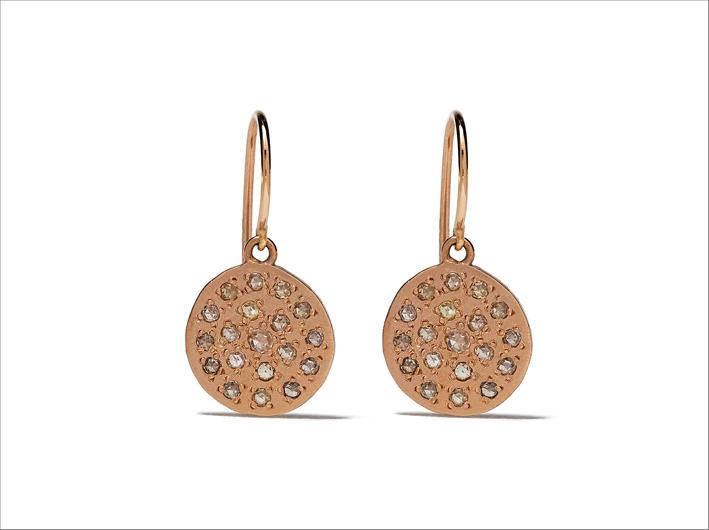 Orecchini in oro rosa 14k e diamanti