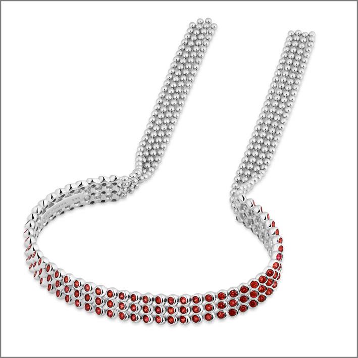 Bracciale in argento 925 con 141 rodoliti pink rose