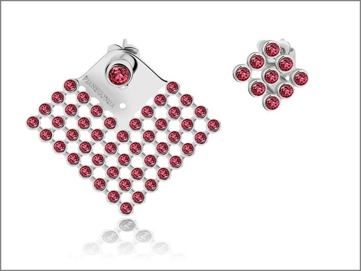 Orecchini in argento 925 con 58 rodoliti pink rose