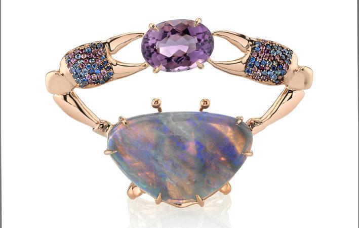 Anello Samundra, oro rosa, ametista, opale