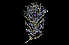 Spilla a forma di piuma con cristalli