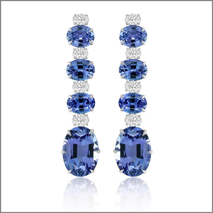 Orecchini con diamanti e tanzaniti per 20 carati