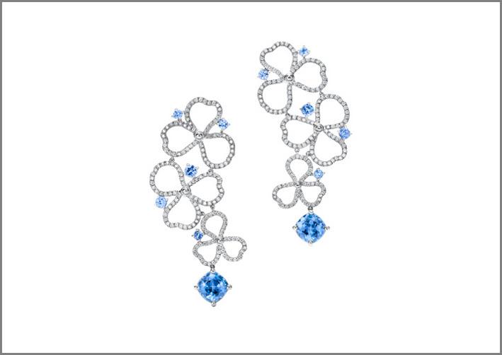 Orecchini con diamanti e tanzaniti