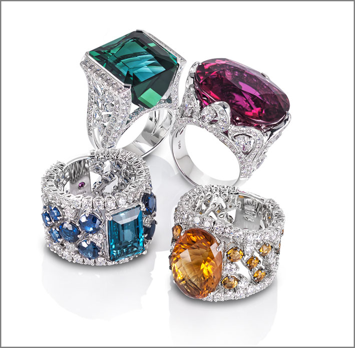 Ring in white gold with diamonds and pink tourmaline. Ring in white gold with diamonds and indigo tourmaline. Ring inn white gold with diamonds, London topaz and blue sapphires. Ring in white gold with diamonds and citrine