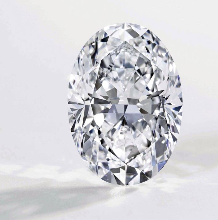 Anello con diamante ovale  di 50 carati