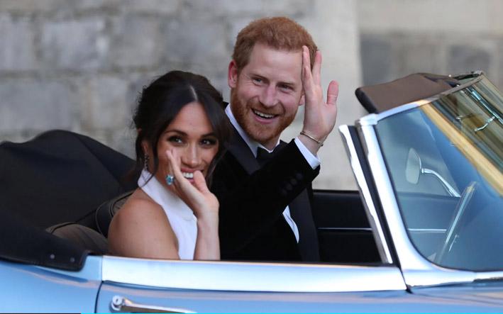 Meghan Markle e il principe Harry verso la festa dopo la cerimonia