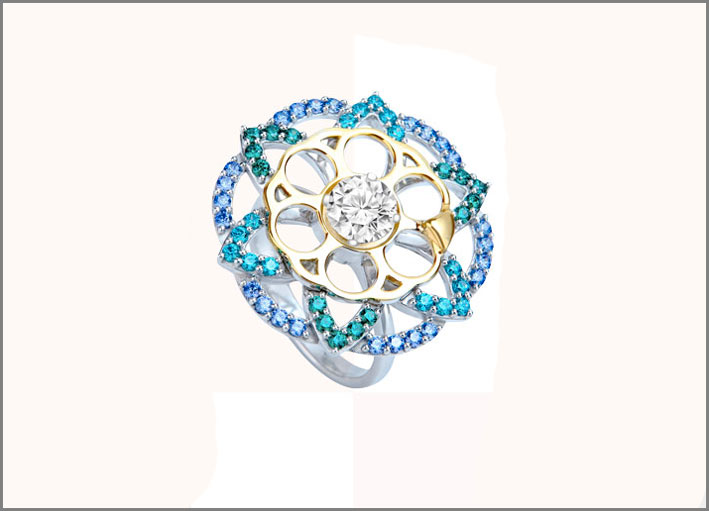 Soul Carousel spinning statement ring in sterling silver and rainbow palette of Swarovski Created Stones