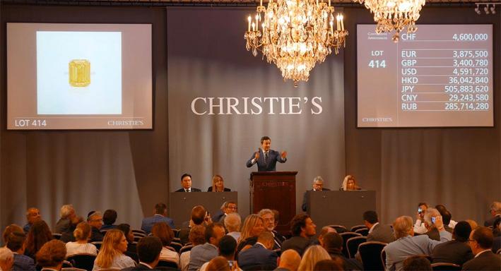 Un momento dell'asta di Christie's