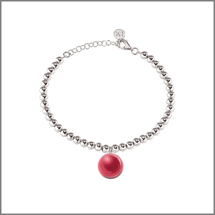 Bracciale in acciaio con sfera rossa