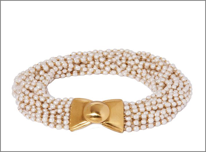 Collana in argento dorato e perle