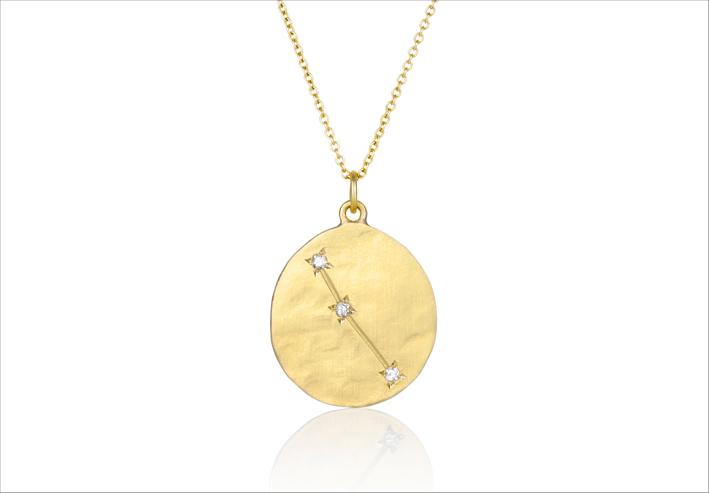 Collana Aries (Ariete) in oro spazzolato e diamanti