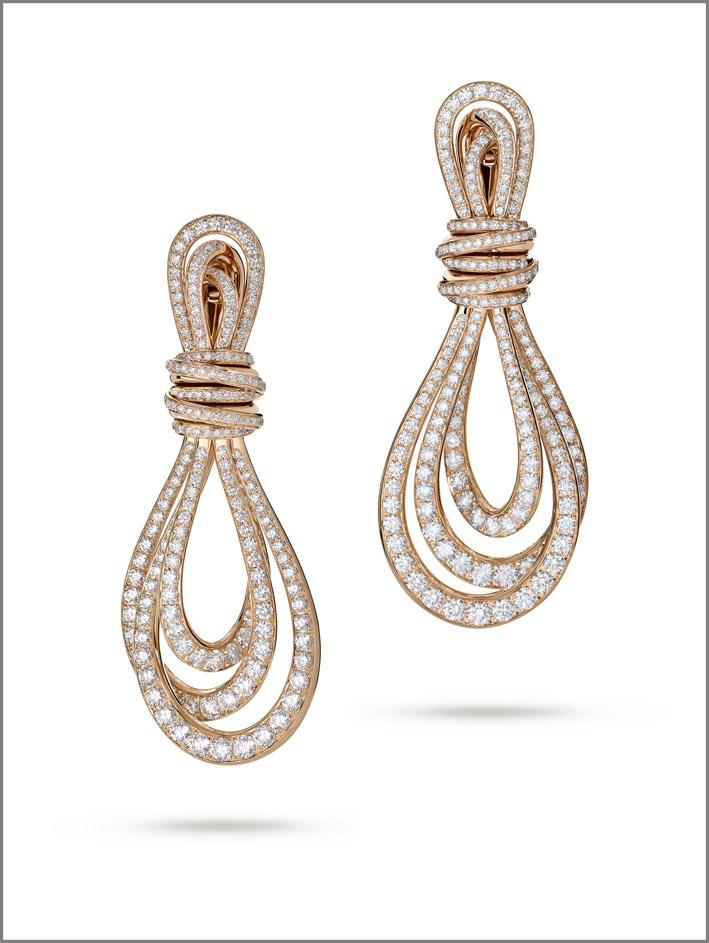 Orecchini in oro rosa e diamanti, Allegra Classic