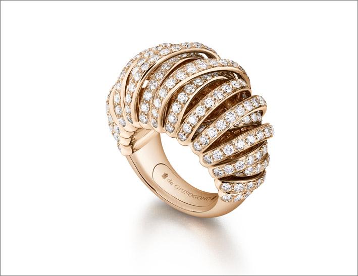 de Grisogono, Allegra, anello in oro rosa e diamanti