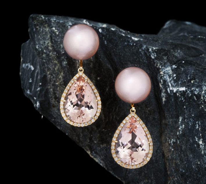 Orecchini con perle rosa e morganite