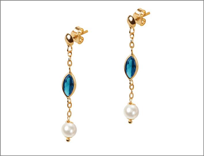 Orecchini in oro, topazioe e perle di Bluespirit