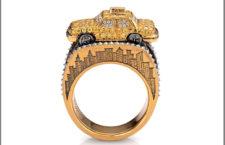 Anello composto da 92 diamanti gialli, 92 diamanti bianchi, 130 diamanti neri, 2 piccoli rubini, oro 18 carati.jpg