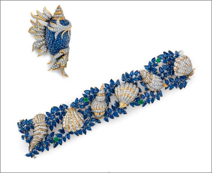 Bracciale e spilla con zaffiri e diamanti di Jean Schlumberger per Tiffany