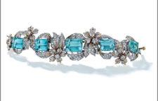 Bracciale con diamanti e acquamarine di Jean Schlumberger per Tiffany, parte della collezione Rockefeller. Venduta per 250.000 dollari