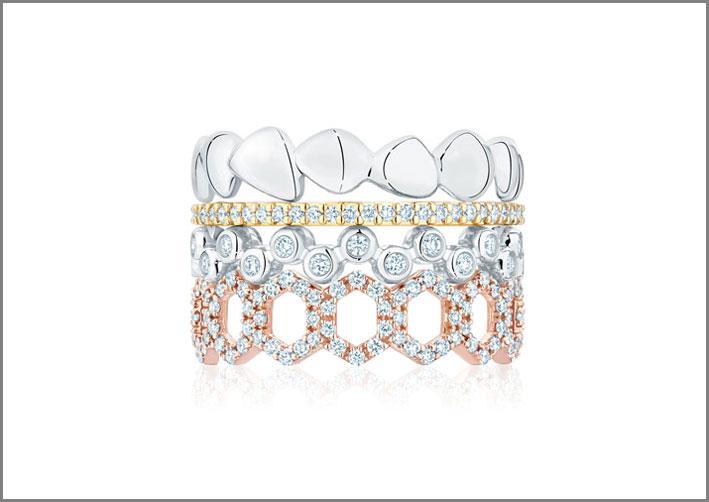 Anelli impilabili: in argento, oro giallo e diamanti, oro rosa e diamanti