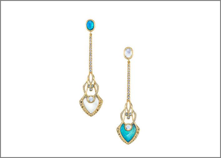 Ark Fine Jewelry, orecchini in opale e pietra di luna