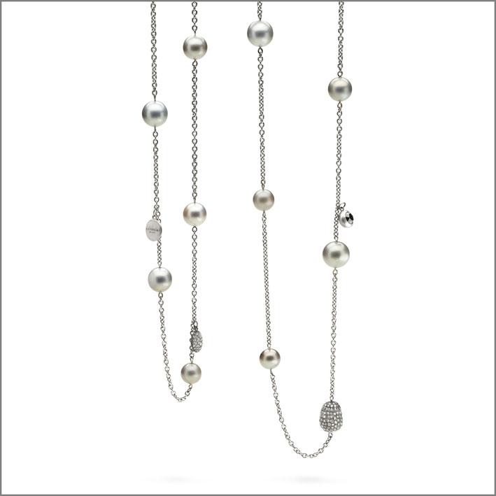 Antonini, collana in oro bianco e perle