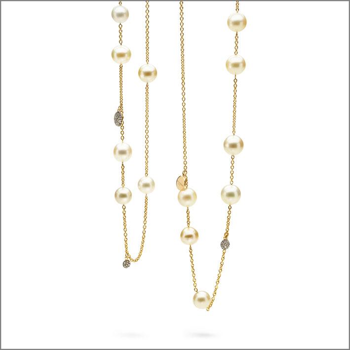 Antonini, collana in oro giallo e perle
