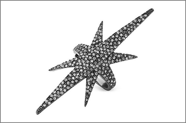 Anello Armour Comet, metallo placcato oro e rutenio con cristalli