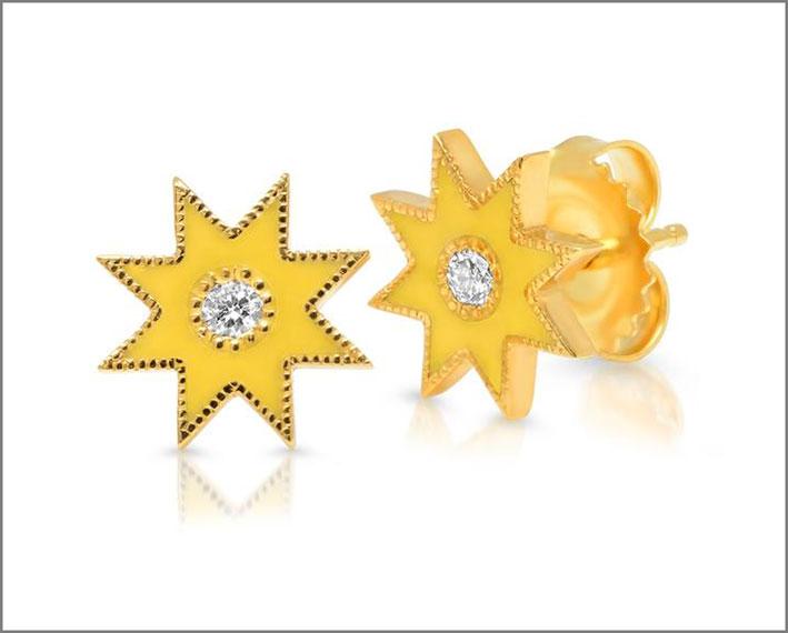 Orecchini a borchia in smalto giallo e diamanti