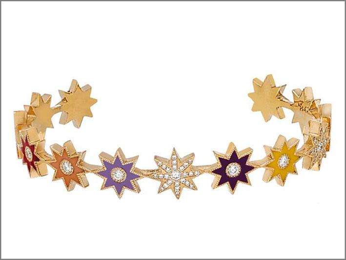 Bracciale in oro 18 carati, smalto, diamanti