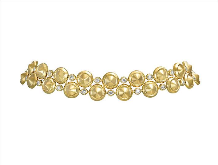 Girocollo in oro giallo e diamanti della collezione Sahara