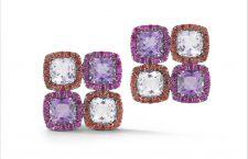 Collezione Dynamite, orecchini con ametista rosa, zaffiri orange e rubini su oro annerito