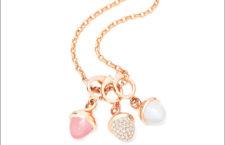 Pendenti  suoro rosa 18 carati, calcedonio rosa, pietra di luna bianca, un pendente con pavé di diamanti bianchi