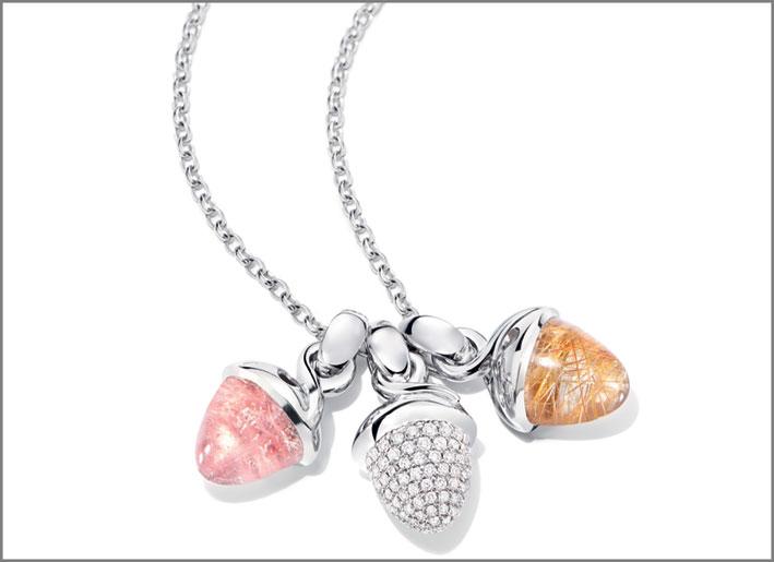Pendenti Mikado Flamenco, oro rosa 18 carati, calcedonio rosa, pietra di luna bianca, un pendente con pavé di diamanti bianchi