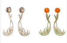 Orecchini fiori selvatici in oro, diamanti, smeraldi, citrino