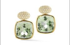 Orecchini in oro, diamanti, prasiolite