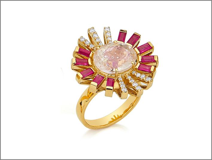 Anello in oro, diamanti, morganite, rubini
