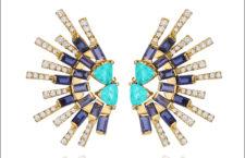 Orecchini in oro, apatite, zaffiri, diamanti