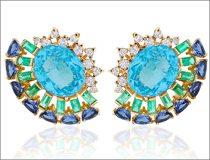 Orecchini in oro, topazio, smeraldi, zaffiri, diamanti