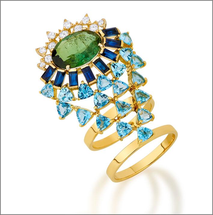 Anello in oro, diamanti, zaffiri, topazio, tormalina verde
