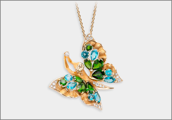 Pendant Soul, yellow gold 18kt, diamonds, diopside and paraiba topaz