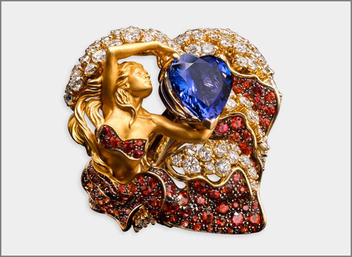 Anello della collezione Eternal in oro, diamanti, zaffiri rossi, tanzanite