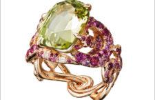 Anello con crisoberillo del Tajikistan, zaffiri rosa, diamanti bianchi, rodio blu