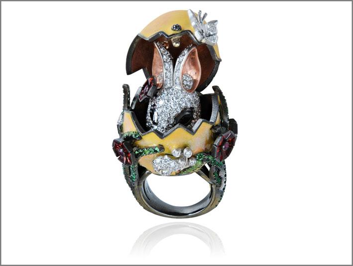 Anello con coniglio, oro rodiato, diamanti, smalto