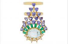 Anello in oro giallo, acquamarina, smeraldi, tanzaniti, diamanti