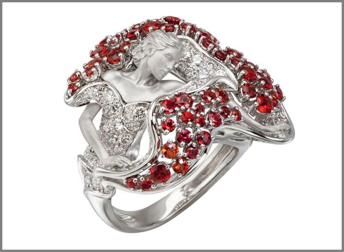 Anello Passion in oro, diamanti, zaffiri rossi