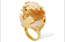 Anello pulcino, oro e zaffiri giallo