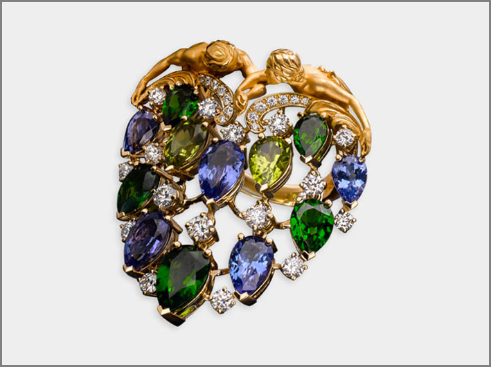 Ring Juliet, yellow gold 18kt, diamonds, diopside, tanzanite and peridot